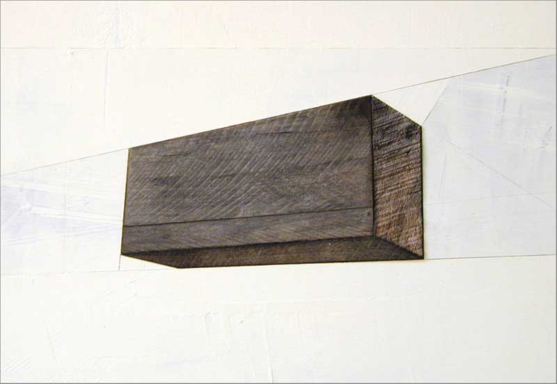 assemblage with found wood