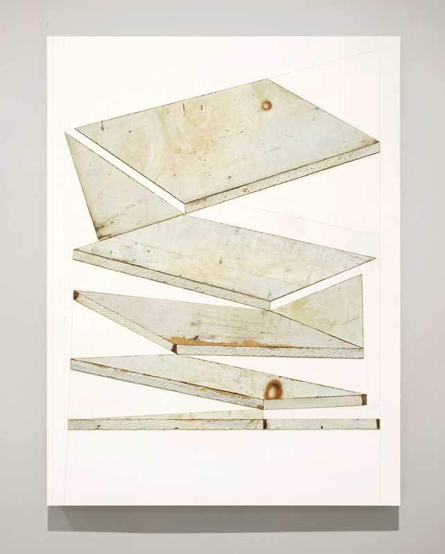 assemblage with found shelves